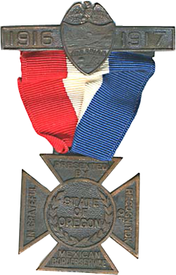 2 pieces of metal connected by a red, white & blue cloth. Wording reads: 1916-1917, presented by State of Oregon.