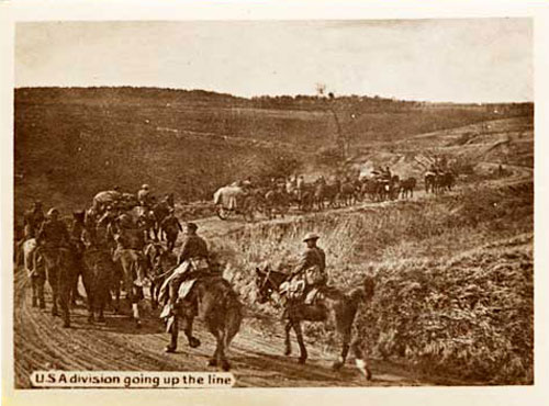 American soldiers on horseback with wagons