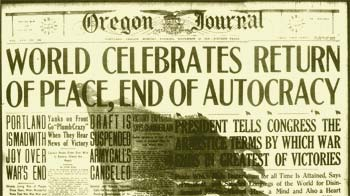 "Headline from 1918 newspaper: ""World Celebrates Return of Peace, End of Autocracy"""