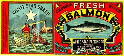 Labels from salmon canneries in 1885