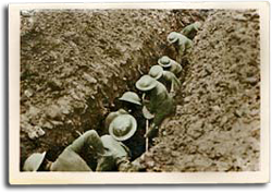 Soldiers in a trench during World War I