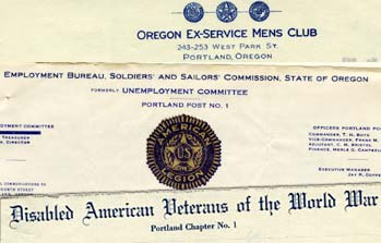 Letterhead of organizations advocating for veterans after world war 1 such as Disable American Veterans of the World War