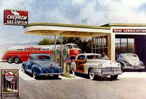 Drawing of a Chevron gas station with cars lined up to get gas and a Chevron gas tanker fuel truck in the back.