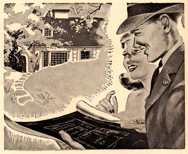 Drawing of man & woman looking at blue prints. A house with a winding stone path in front is displayed in a dream cloud above.