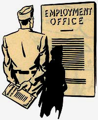 "Drawing of soldier in front of sign reading ""Employment office"""