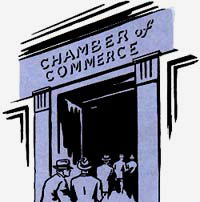 "Drawing of people filing into a building with the name ""Chamber of Commerce"" over the archway."
