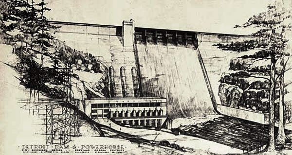 Drawing of Detroit Dam with water flowing over the top & evergreen trees on the backs of the river.