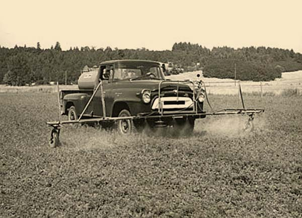 A truck with chemical spray
