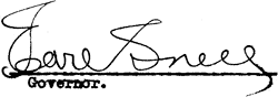 Earl Snell, Governor signature forged