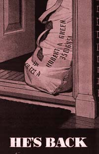 "Drawing of a military bag, the kind servicemen kept their belongings in. Text at bottom reads ""He's Back."""
