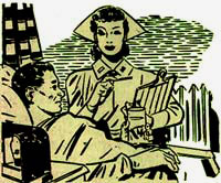 Drawing of man in hospital bed with nurse carrying clipboard standing next to his bed.