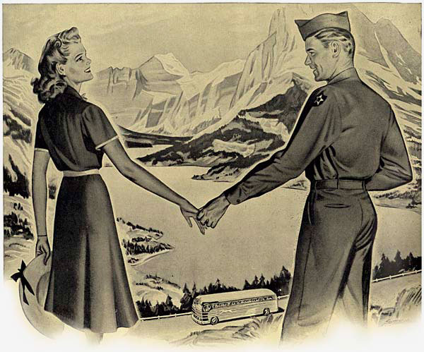Drawing of woman & man holding hands in front of a beautiful mountain & valley scene. A peaceful lake is below & a Greyhound bus