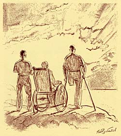 Drawing of 3 service men: 1 missing an arm, 1 in a wheel chair, 1 missing a leg and standing on crutches.