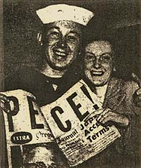 "Photo of sailor and woman smiling at camera & holding paper with headline ""Peace!"" Subheading reads ""Japs Accept Terms"""