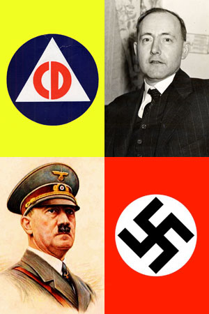 Triangle with CD inside. Photo Charles Sprague. Nazi swastika. Drawing of Hitler in military dress.