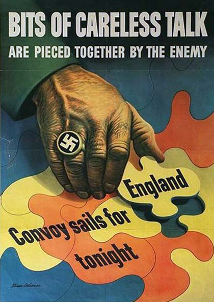"Poster from world war II titled ""Bits of careless talk are pieced together  by the enemy"" shows a hand with a Nazi ring."