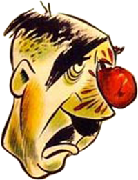 Cartoon of Adolf Hilter portrayed as stupid with large red nose and drooping facial features.