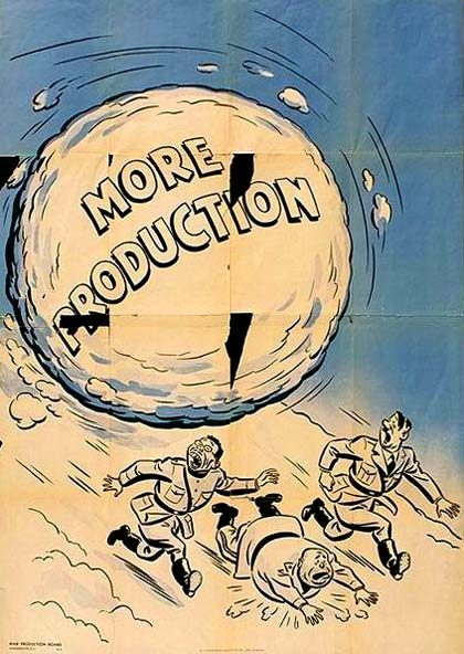 "Cartoon of giant snowball with ""More Production"" printed on it chashes the Axis leaders down a snowy hill."