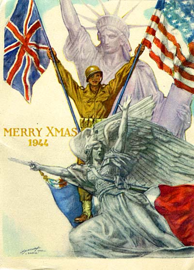Drawing of soldier holding American flag & UK flag in victory. Statue of Liberty in back. French flag & stone winged soldier.