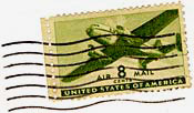 "Stamp with airplane and ""Air mail 8 cents"" on front."