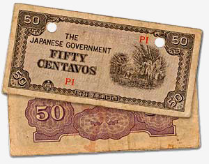 "Japanese money with ""Fifty Centavos"" printed on it."