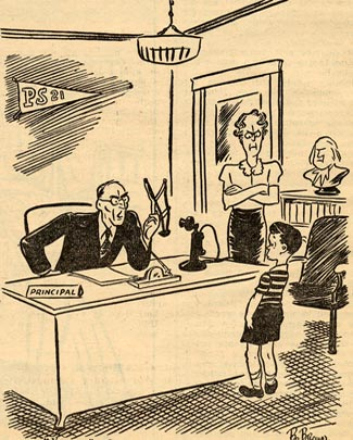Cartoon of angry principal holding slingshot and talking to boy. An angry woman (probably the teacher) is standing to his side.