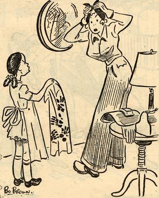 Mother fixing her hair in a mirror. Girl in apron approaches her with a towel.