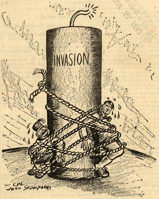 "Piece of lit dynamite with ""Invasion"" written. Hitler and mussolini are tied to the dynamite."