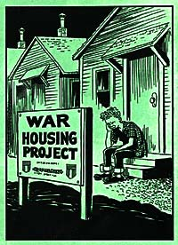 "Cartoon of dejected looking young man sitting on a step outside his front door during evening hours.  Sign ""War Housing Project"""