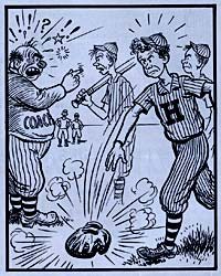 Cartoon of young man throwing a baseball mit down in frustration. A coach is in the background yelling at another boy.