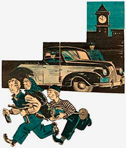 Drawing of 3 youths running from a police car carrying things they stole like bottles of beer (probably).