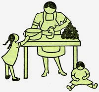 Drawing of mother in apron at a table working with food while 2 children play nearby.