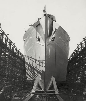 The cargo ship SS Davidson Victory in dry dock with scaffolding to the sides.