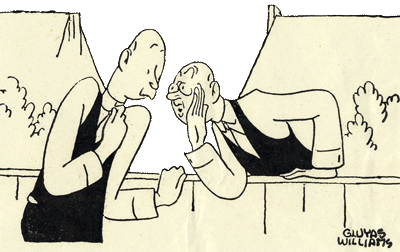 Cartoon of 1 man whispering over his fence to another man.
