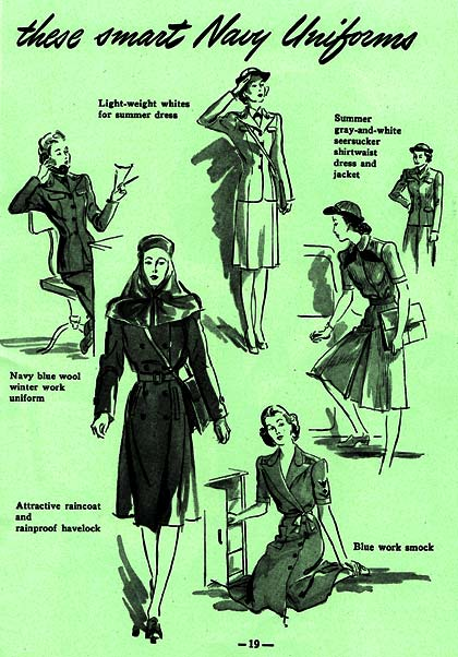 """These smart Navy uniforms"" reads the headline, & examples of summer, winter & rain wear drawings of ladies in WAVES uniforms."