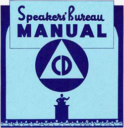 "Drawing of a person at a speaker podium with ""Speakers' Bureau Manual"" over head. Also the letters ""CD"" inside a triangle, insid"