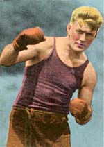 Gene Tunney in tank top and boxing gloves.