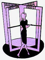Drawing of woman walking through revolving doors. The 4 doors have printed on them: Infection, Arrest, Courts, Treatment