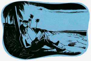 Drawing of soldier sitting on beach with palm trees reading a book.