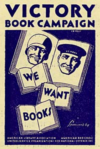 "Poster reads ""Victory Book Campaign"" with image of servicemen on book pages. ""We Want Books"" written below."