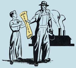 "Drawing of adult male factory worker handing a young man a rolled up paper with ""War Services"" printed on the outside."