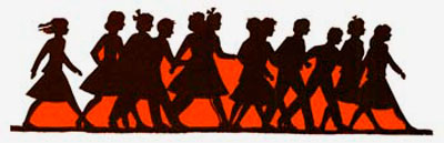 Drawing of shadows of a dozen teenagers walking down the street together.