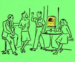 Drawing of 4 teenagers relaxing around a juke box. A table holding drinks is near.
