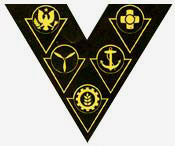 Symbol for High school victory corp includes an anchor, first aid cross, eagle with arrow in 1 claw & brach in the other.
