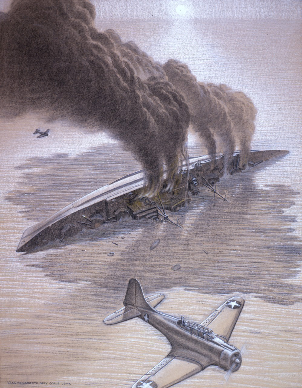 Charcoal drawing of boat on its side in the ocean with smoking billowing out and a plane flying overhead.