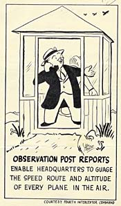 "Cartoon man on phone, ""Observation post reports enable headquarters to guage the speed route and altitude of every plane in the air"""
