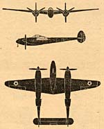 Drawing of Lockheed Lightning plane from front, side and top.