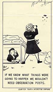 "Cartoon of woman looking at planes, ""If we knew what things were going to happen we wouldn't need observation posts."""