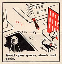 "Cartoon man running down street in city with bomb chasing him. ""avoid open spaces, streetsand parks."""