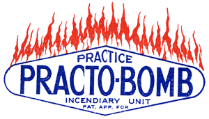 "Logo with words ""Practice Practo-bomb"" with flames coming out the top."